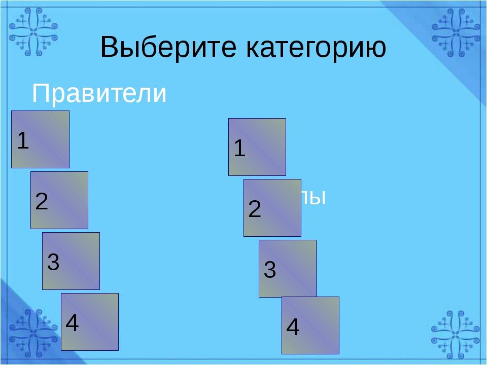 Выберите категорию Правители Титулы 1 3 2 2 1 3 4 4