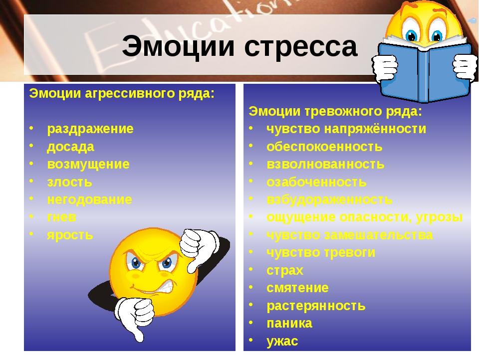 Эмоции стресса Эмоции агрессивного ряда: раздражение досада возмущение злость...