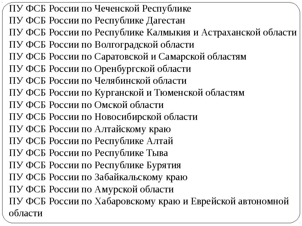 ПУ ФСБ России по Чеченской Республике ПУ ФСБ России по Республике Дагестан...