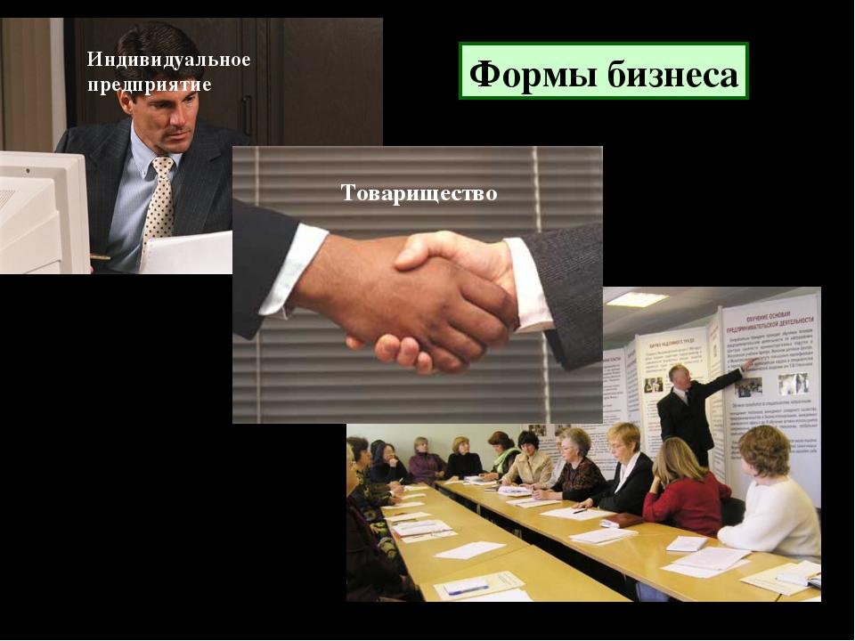 Формы бизнеса Индивидуальное предприятие Товарищество Акционерное предприятие
