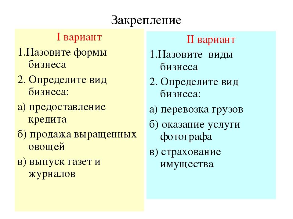Закрепление I вариант 1.Назовите формы бизнеса 2. Определите вид бизнеса: а)...