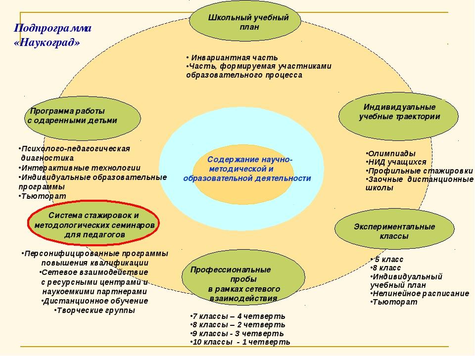 Содержание научно- методической и образовательной деятельности Инвариантная...