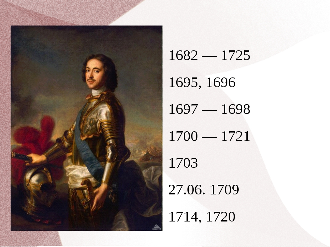 1682 — 1725 1695, 1696 1697 — 1698 1700 — 1721 1703 27.06. 1709 1714, 1720