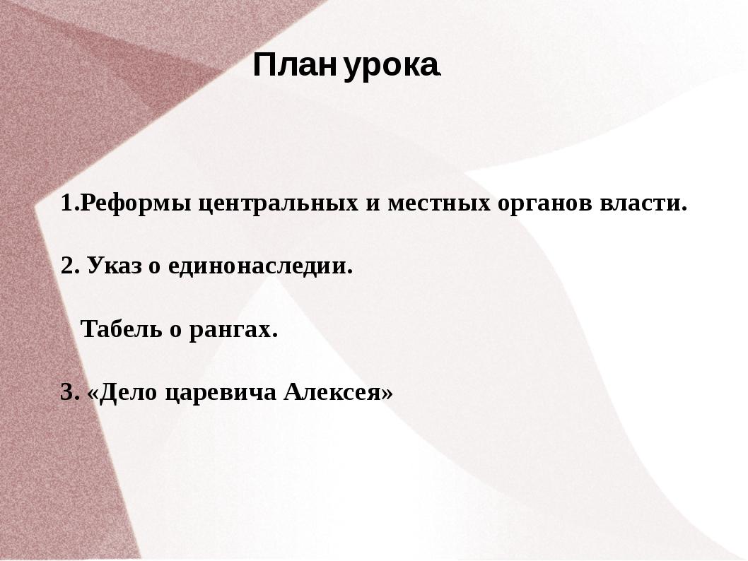 План урока. 1.Реформы центральных и местных органов власти. 2. Указ о единона...