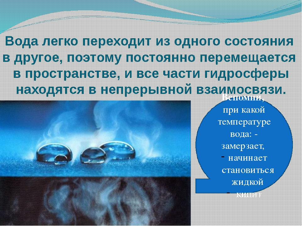 Вода легко переходит из одного состояния в другое, поэтому постоянно перемеща...
