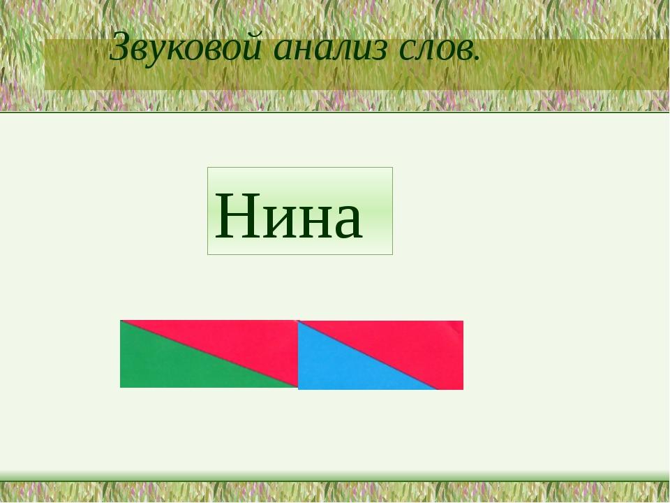 Звуковой анализ слов. Нина