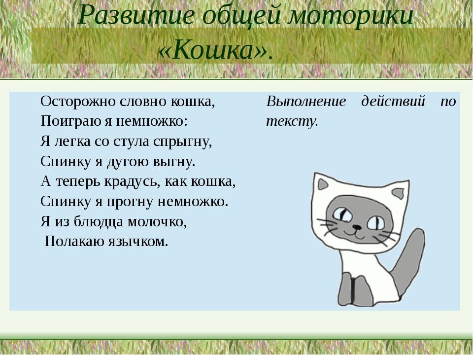 Развитие общей моторики «Кошка». Осторожнословно кошка, Поиграюя немножко: Я...