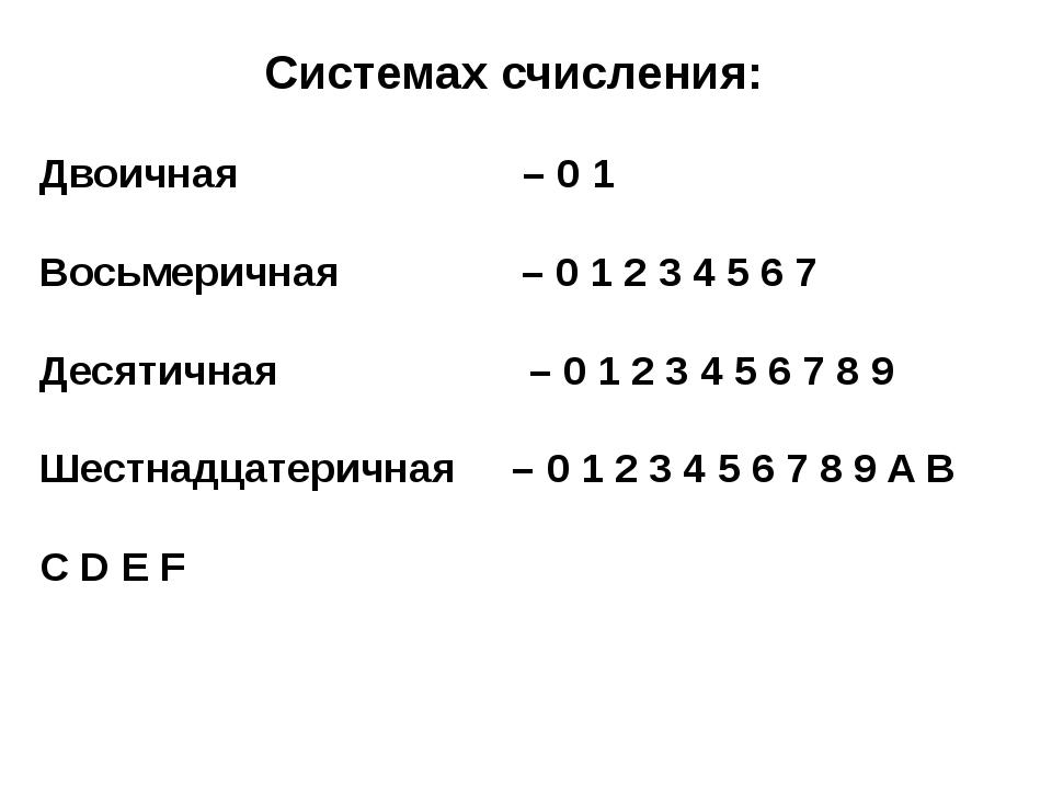 Системах счисления: Двоичная – 0 1 Восьмеричная – 0 1 2 3 4 5 6 7 Десятичная...