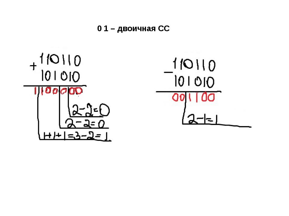 0 1 – двоичная СС