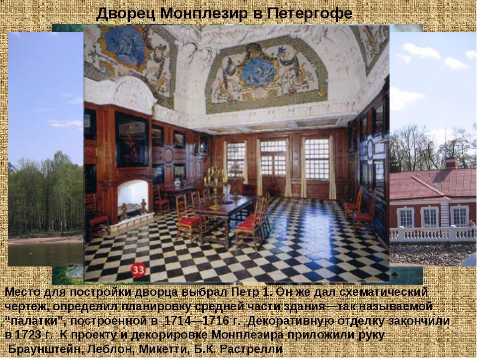 Место для постройки дворца выбрал Петр 1. Он же дал схематический чертеж, опр...