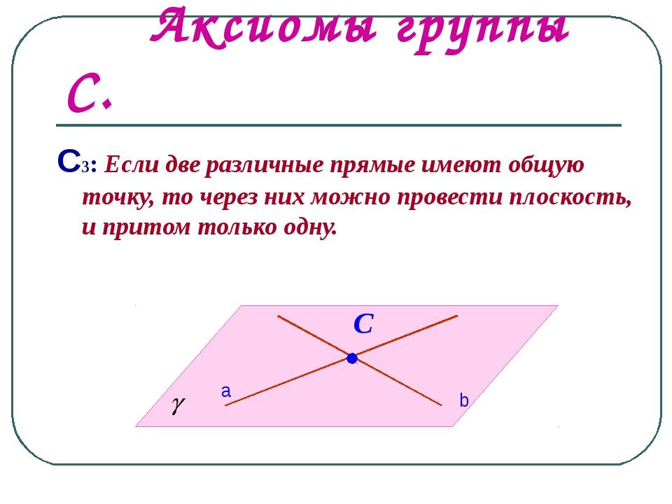 Аксиомы группы С. С3: Если две различные прямые имеют общую точку, то через...