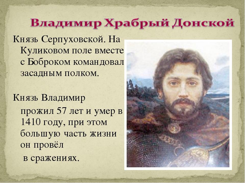 Князь Серпуховской. На Куликовом поле вместе с Боброком командовал засадным п...