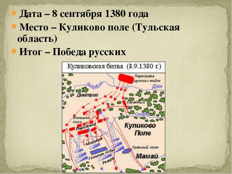 Дата – 8 сентября 1380 года Место – Куликово поле (Тульская область) Итог – П...