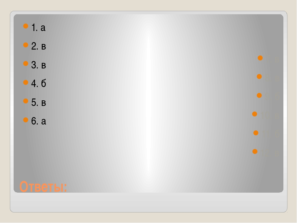 Ответы: 1. а 2. в 3. в 4. б 5. в 6. а 7. в 8. в 9. б 10. в 11. б 12. в