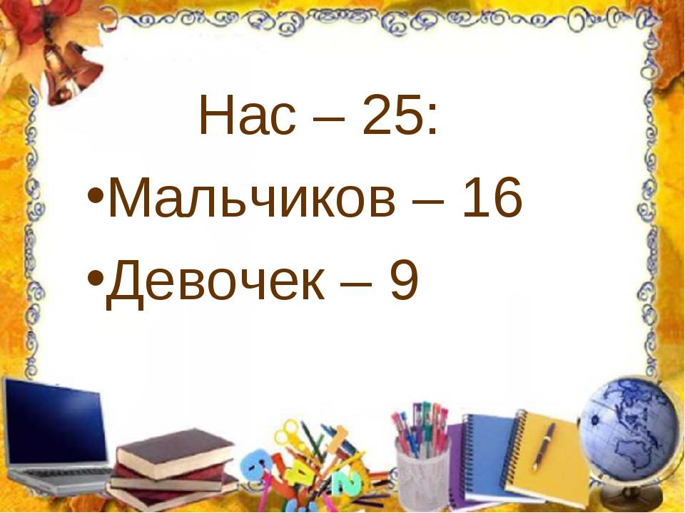 Нас – 25: Мальчиков – 16 Девочек – 9