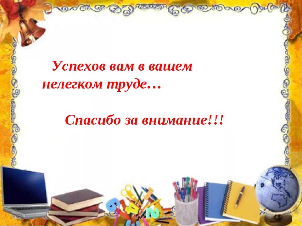 Успехов вам в вашем нелегком труде… Спасибо за внимание!!! Спасибо за внима...