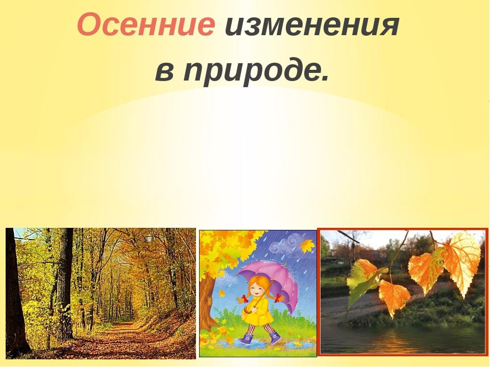 Осенние изменения в природе.