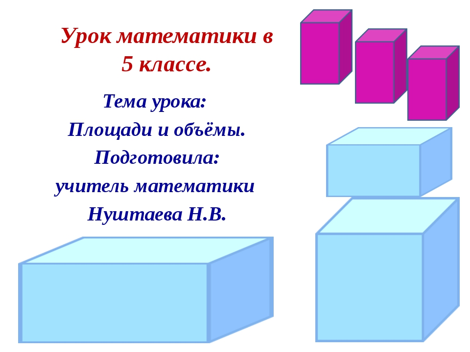 Тема урока: Площади и объёмы. Подготовила: учитель математики Нуштаева Н.В. У...