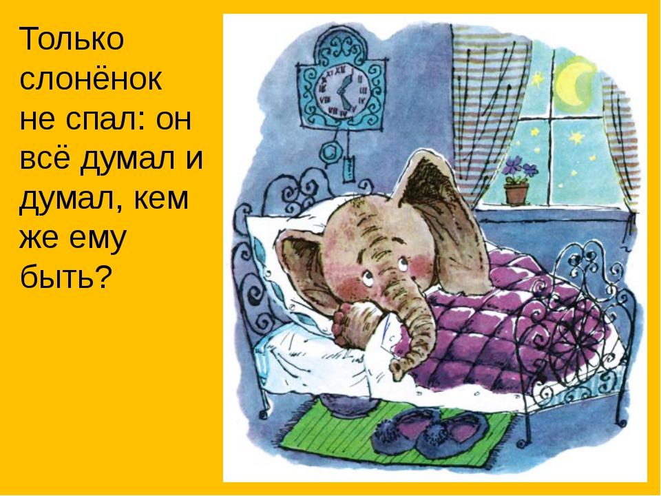Только слонёнок не спал: он всё думал и думал, кем же ему быть?