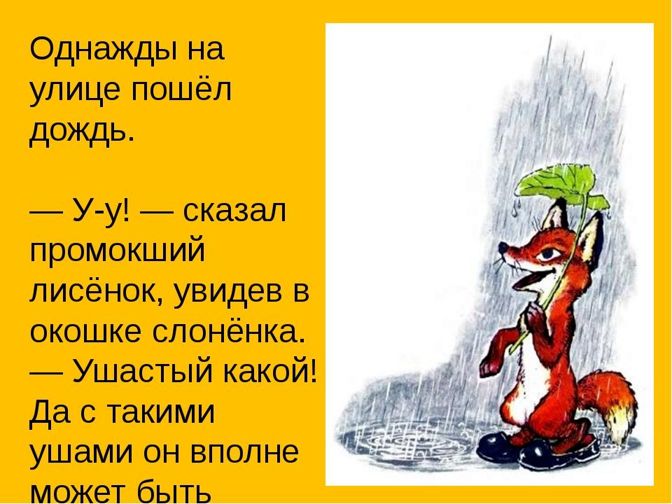 Однажды на улице пошёл дождь. — У-у! — сказал промокший лисёнок, увидев в око...