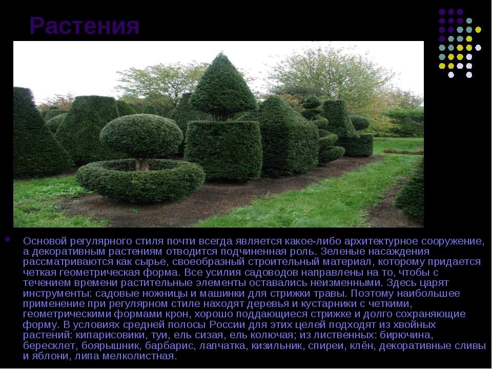 Растения Основой регулярного стиля почти всегда является какое-либо архитекту...
