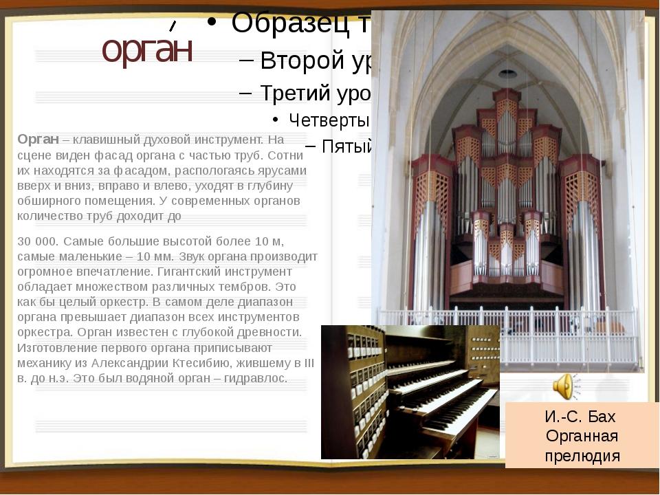 орган Орган – клавишный духовой инструмент. На сцене виден фасад органа с час...