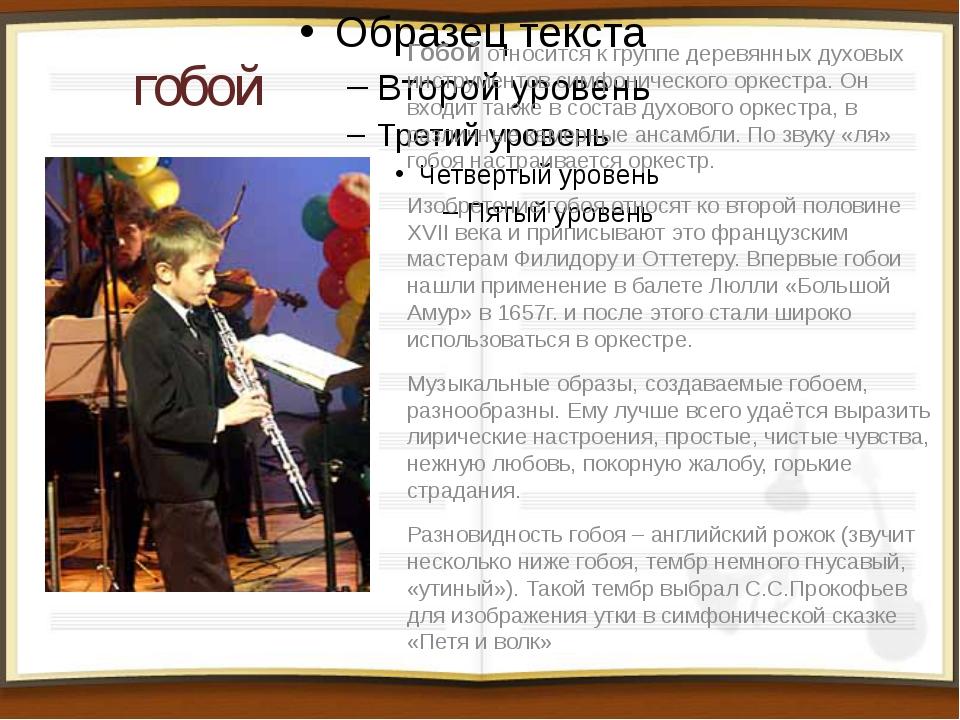 гобой Гобой относится к группе деревянных духовых инструментов симфонического...