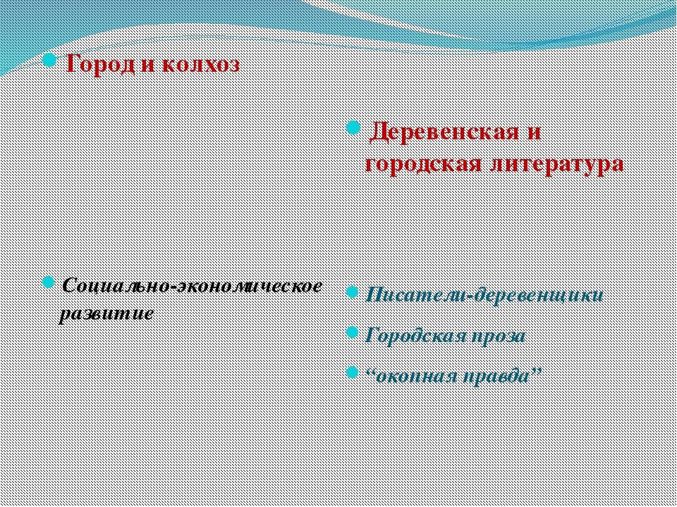 Город и колхоз Социально-экономическое развитие Деревенская и городская литер...