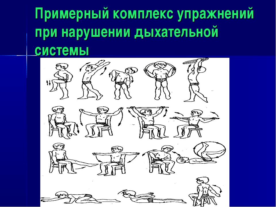 Примерный комплекс упражнений при нарушении дыхательной системы