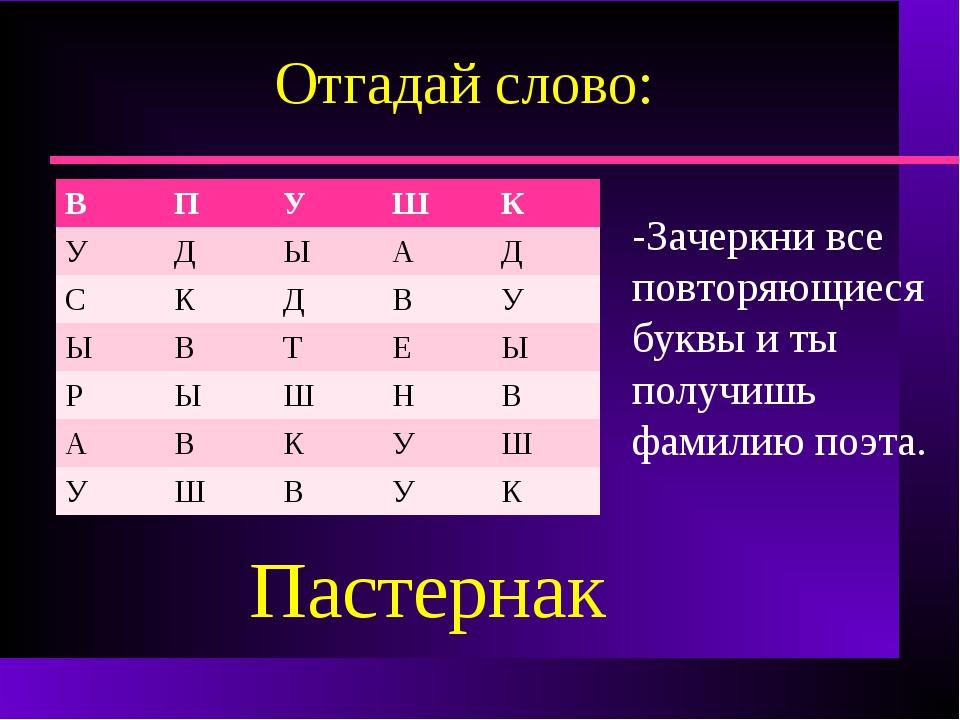 Отгадай слово: -Зачеркни все повторяющиеся буквы и ты получишь фамилию поэта....