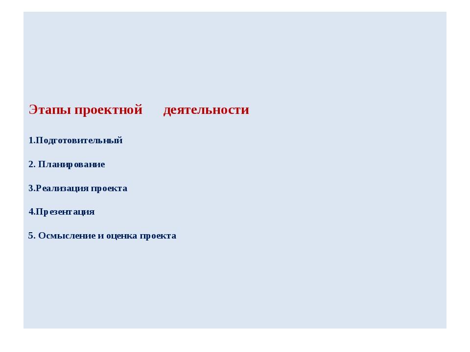 Этапы проектной деятельности 1.Подготовительный 2. Планирование 3.Реализация...
