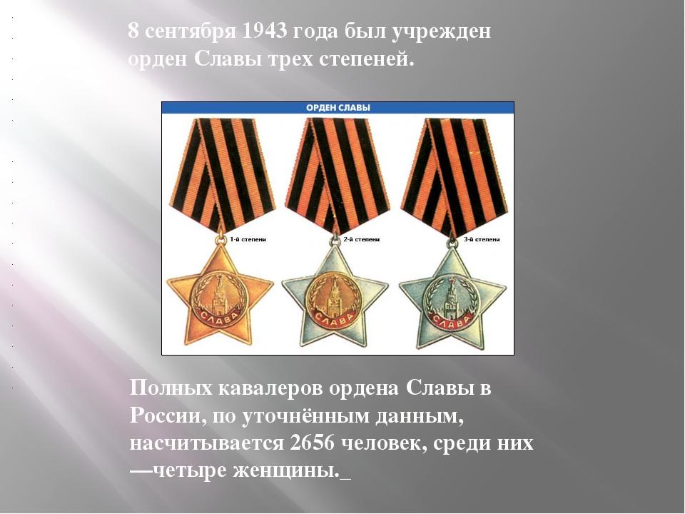 Полных кавалеров ордена Славы в России, по уточнённым данным, насчитывается...