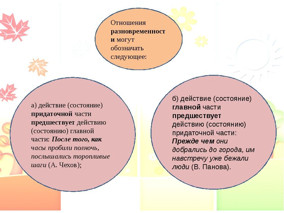Отношения разновременности могут обозначать следующее: а) действие (состояние...
