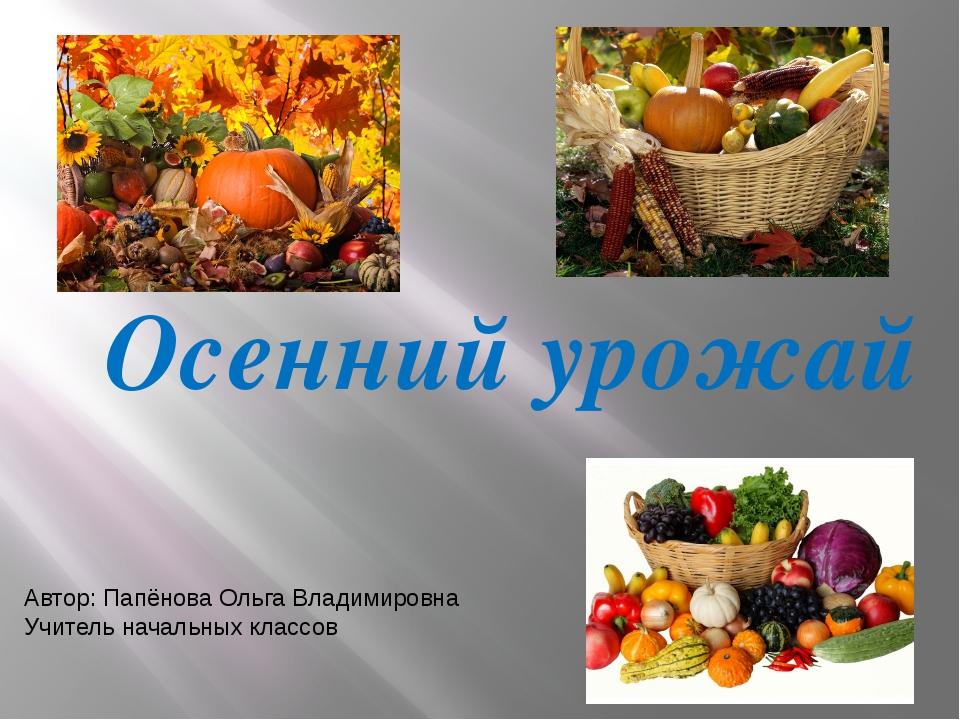 Осенний урожай Автор: Папёнова Ольга Владимировна Учитель начальных классов