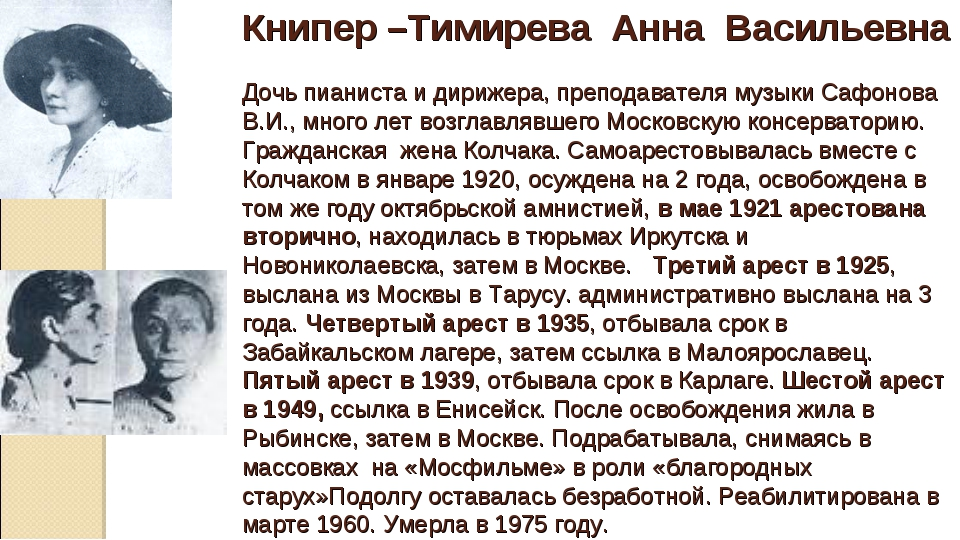Книпер –Тимирева Анна Васильевна Дочь пианиста и дирижера, преподавателя муз...