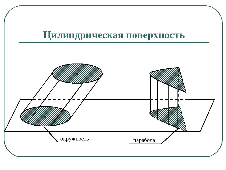 • • окружность парабола Цилиндрическая поверхность