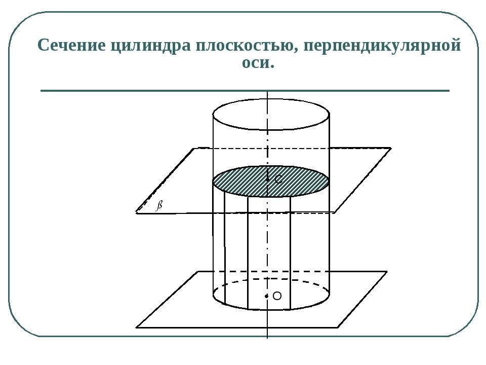 Сечение цилиндра плоскостью, перпендикулярной оси. С O ß α • •