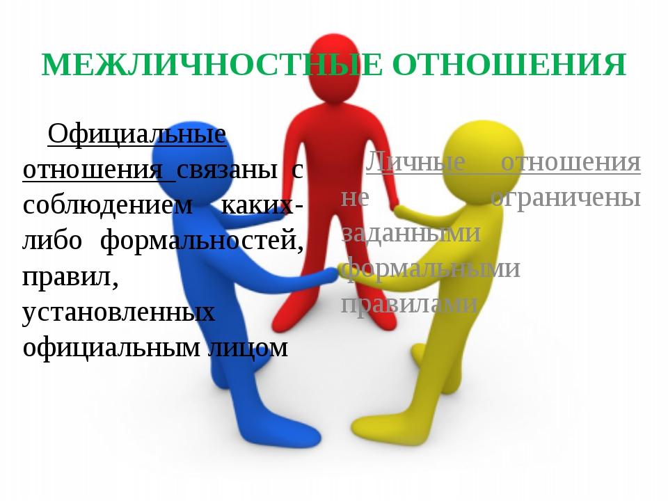 МЕЖЛИЧНОСТНЫЕ ОТНОШЕНИЯ Официальные отношения связаны с соблюдением каких-либ...