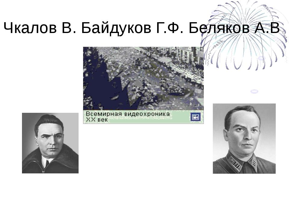 Чкалов В. Байдуков Г.Ф. Беляков А.В