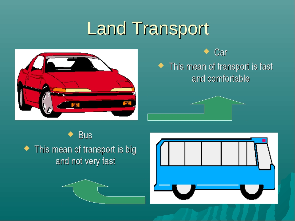 Land Transport Car This mean of transport is fast and comfortable Bus This me...