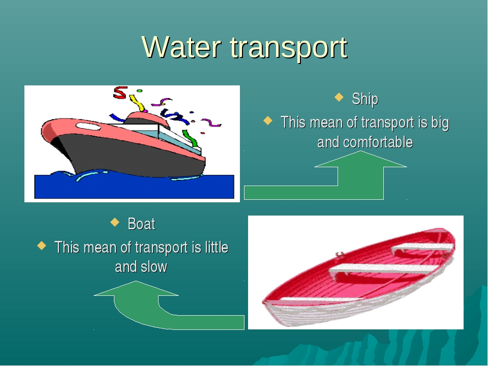 Water transport Ship This mean of transport is big and comfortable Boat This...