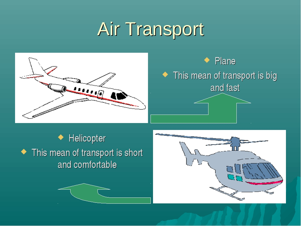 Air Transport Plane This mean of transport is big and fast Helicopter This me...