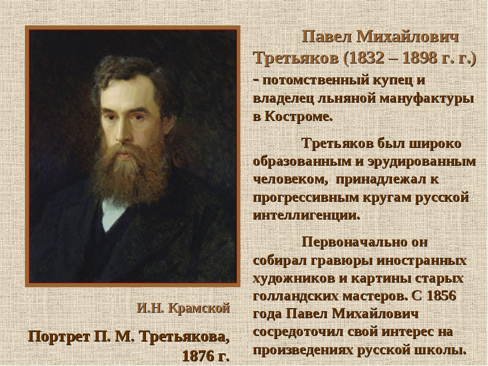 И.Н. Крамской Портрет П. М. Третьякова, 1876 г. Павел Михайлович Третьяко...