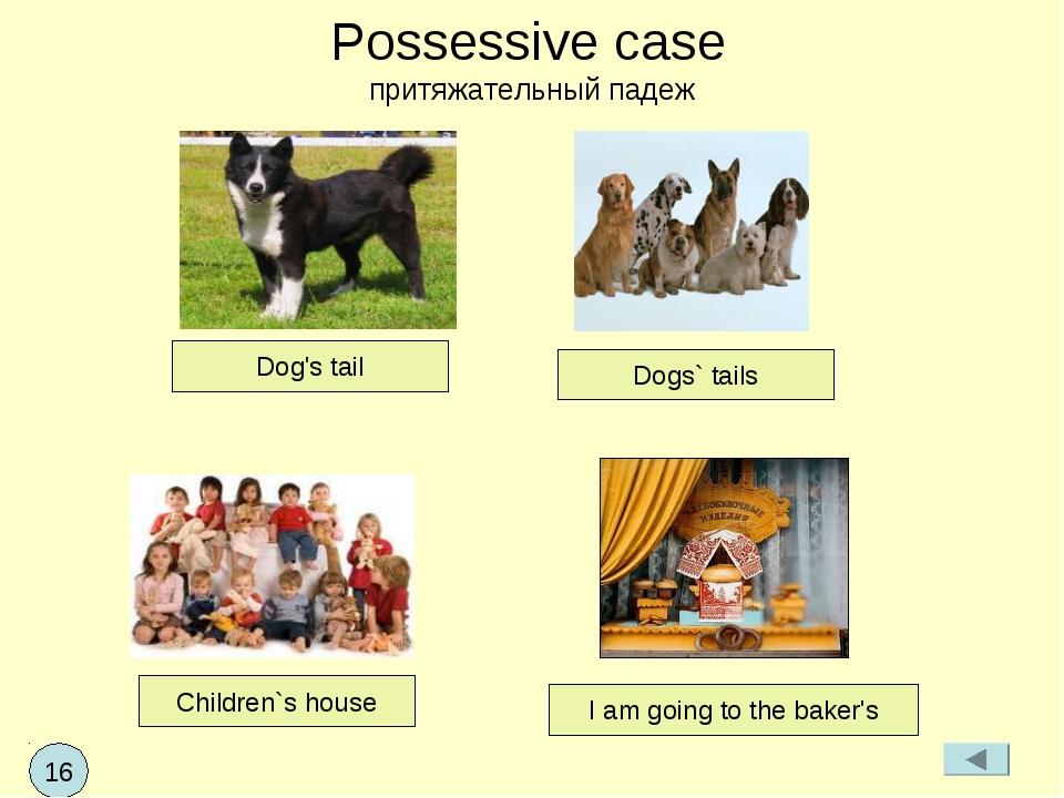 Possessive case притяжательный падеж Dog's tail Children`s house I am going t...