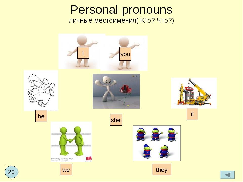Personal pronouns личные местоимения( Кто? Что?) I you we he she it they 20