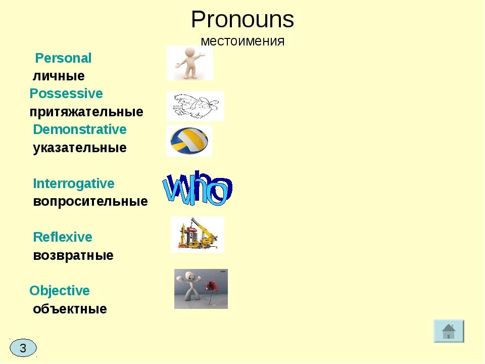 Pronouns местоимения Personal личные Possessive притяжательные Demonstrative...