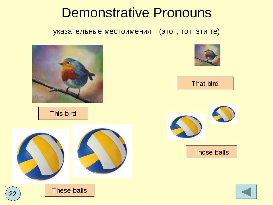 Demonstrative Pronouns указательные местоимения (этот, тот, эти те) This bird...