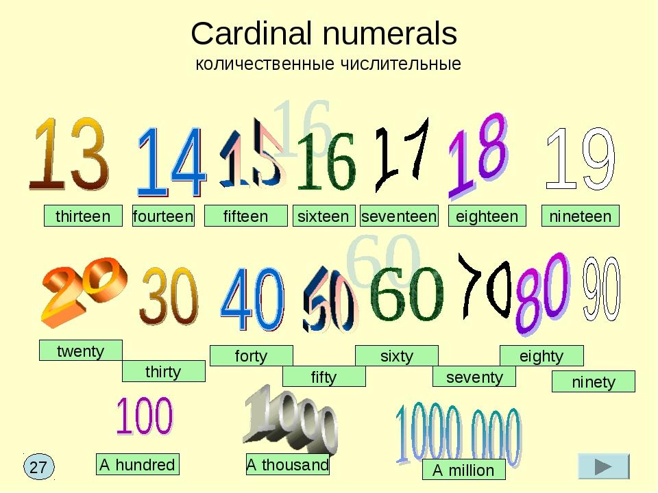 Cardinal numerals количественные числительные fifteen sixteen seventeen eight...