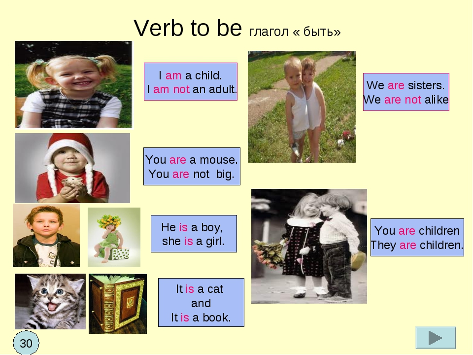 Verb to be глагол « быть» I am a child. I am not an adult. You are a mouse. Y...