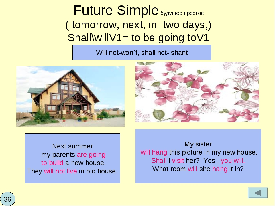 Future Simple будущее простое ( tomorrow, next, in two days,) Shall\willV1= t...